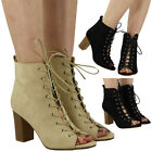 NEW WOMENS LADIES OPENTOE HIGH BLOCK HEEL CUTOUT LACE UP ANKLE BOOTS SHOES SIZE