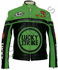 LUCKY STRIKE New Black/Green Leather Biker Motorcycle Jacket - All sizes!