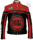 LUCKY STRIKE New Black/Red Leather Biker Motorcycle Jacket - All sizes!