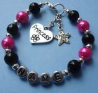 GIRLS PERSONALISED BRACELET HELLO KITTY  TINKERBELL ANY CHARMCHOICE OF GIFT BOX