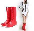 Red color womens rainboots Mid-Calf boots rubber soled galoshes EUR36-EUR41