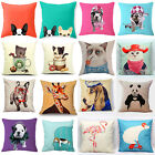 Cartoon Cotton Dog Linen Pillow Case Sofa Waist Throw Cushion Cover Home Decor