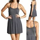 Ribbed Spaghetti Strap Racerback Elastic Waistband Thigh Length Dress S M L