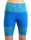 Wide Waistband High Waist Turquoise Stretch Lace Shorts XS S M L XL 2XL 3XL teal