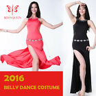 New 2016 Women Belly Dance Costumes Sleeveless Side Slit Hollow Long Dress