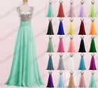 New Long Chiffon Evening Ball Gown Party Prom Bridesmaid Dress Stock Size 6-22
