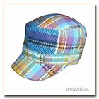 New FASHION D & Y  NEWSBOY PLAID STRIPE MILITARY CADET HAT --  BLUE