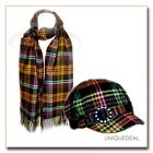 NEW  *D&Y* TARTAN PLAID ADJUSTABLE CADET  HAT & SCARF MATCHING SET - Orange