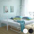 Day Bed Metal Frame Single Guest Pull Out Under Bed Trundle French 200/100 cm