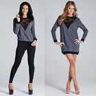LADIES WOMENS SWEATER DRESS TOP FLORAL LACE INSERT GREY CASUAL WEAR CREW NECK