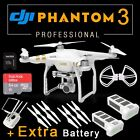 DJI Phantom 3 Professional QuadCopter GPS Drone 4K 12M HD Camera + Extra BATTERY