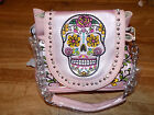 MONTANA WEST PINK PURSE WITH A SCULL OF WILD COLORS ON IT AND  2 TYPE STRAPS image