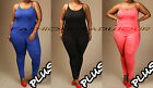 Plus Size Sleeveless Tank Jumpsuit Romper Catsuit One Piece BLACK WHITE BLUE