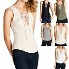 Sleeveless Solid Front Crossed String Tie Tank Top Casual Rayon Spandex S M L