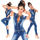 Sexy New Women's Denim Blue Jeans Playsuit Jumpsuit Overall Skinny Slim H 566