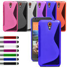 For Various HTC Phone Slim Silicone Gel Case Soft Cover + Film + Retractable Pen