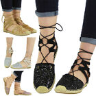 WOMENS LADIES GLITTER LOW FLAT HEEL ANKLE LACE UP ESPADRILLES SHOES SANDALS SiZE
