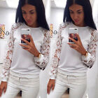 Womens Ladies White Lace Hoodie Sweatshirt Pullover Jumper Tops Sweater Shirt