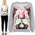 Ladies Womens Grey Hoodies Sweat Sweater With Satin Front Floral Print Sweater