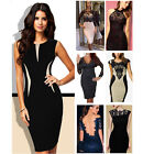 Ladies Office Wear Sexy Lace Summer Short Sleeve Bodycon Cocktail Party Dresses