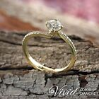 Pave Diamond Engagement Ring 0.84 TCW VS-SI G-H 14k Yellow Gold Size 5 Enhanced