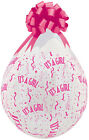 "Stuffing 18"" It's A Girl A Round Diamond Clear Pink Ink Qualatex Latex Balloons"