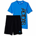 adidas Junior Kids Boys Summer Outfit Set Pack Blue/ Black