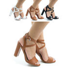 Morris10 Open Toe Ankle Wrap Block Heel Dress Sandals