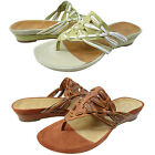 Clarks Artisan Womens Tobi Slip On Open Toe Casual Thong Wedge Sandals Shoes
