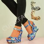 NEW WOMENS HIGH WEDGE HEEL LADIES FLORAL PRINT ANKLE STRAP SANDALS SHOES SIZE UK