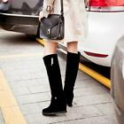 Womens Riding Boots Mid Calf Knee High Boots Faux Suede Wedge Heels Shoes Size