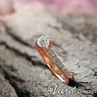 Round Diamond Engagement Ring Size 5 New 14k Rose Gold 1.03 TCW VS F-G Enhanced