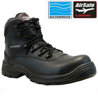 NEW AIRSAFE MENS WATERPROOF LEATHER SAFETY COMPOSITE TOE CAP COMBAT WORK BOOTS