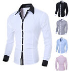 New Fashion Mens Luxury Stylish Dress Slim Fit T Shirts Casual Long Sleeve Tops