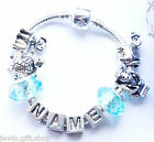 baby boys personlaised silver bracelet Animal charms add any name blue purpal