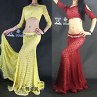New Sexy 2016 Women's Belly Dancing Costumes 2Pics Top& Long Skirt M L