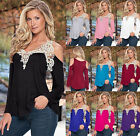 Summer Womens Loose Casual Long Sleeve Sexy Lace T Shirt Blouse Ladies Tee Top