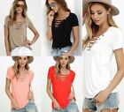 Sexy Women Cross Lace-up Short Sleeve Tee Tops Blouse Open Front Hoodie T Shirt