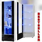 Tall Display Cabinet High Gloss White Glass Shelves Furniture Modern 192cm