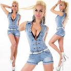 Sexy Women's Denim Light Blue Jeans Hot Pants Playsuit Jumpsuit Overall S 095