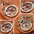 BIRTHDAY Gift  Floating Memory Locket keyring -30th 40th 50th