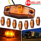 8X 2Diodes LED Light Amber Universal Surface Mount Clearance Side Marker Traile