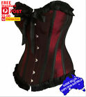 Overbust Corset Burlesque Crimson Red 12 Bone Black Trim Small to 5XL