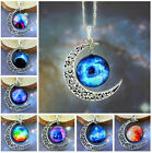Charms Cabochon Galactic Magic Crescent Moon Star Time Pendant Chain Necklace