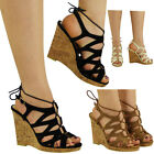 WOMENS LADIES PEEPTOE LACE UP BUCKLE CUTOUT HIGH HEEL WEDGE SHOES SANDALS SIZE