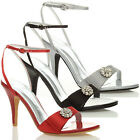 WOMENS LADIES WEDDING EVENING PARTY HIGH HEEL SANDALS BRIDAL PROM SHOES SIZE