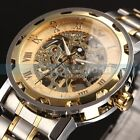 US SHIP Luxury Men's Gold Skeleton Mechanical Stainless Steel Sport Wrist Watch