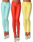 Sexy Women's Skinny Jeans Trousers Summer Leggings Hipsters Faux Wet Look R 114