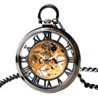 Vintage Transparent Design Men Women Skeleton Mechanical Pocket Watch Chain Gift