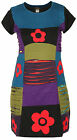 Ladies Floral Razorcut Short Sleeve Boho Nepalese Summer Bohemian Hippie Dress